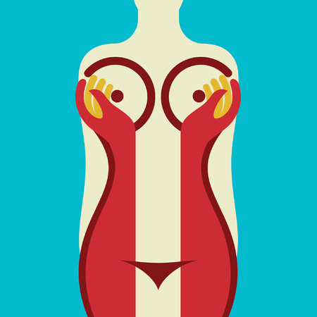 breast nipple: woman body illustration
