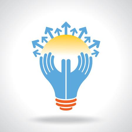 give hand: reach idea, a human think