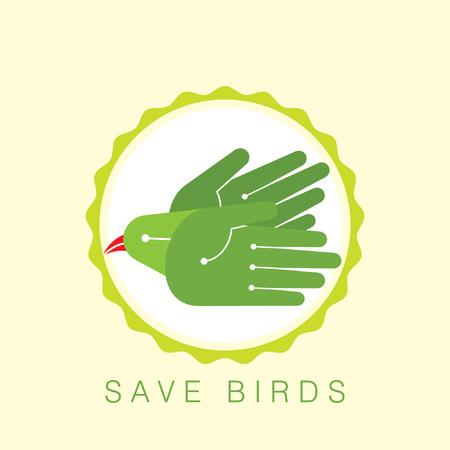 fly of bird to hand  creative idea Stock Vector - 28396202