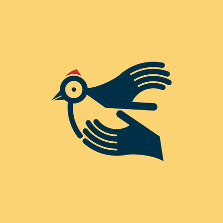 hands in the air: fly of bird to hand  creative idea Illustration