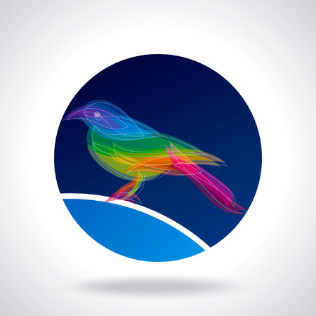 tweeting: Colored bird in withe background Illustration