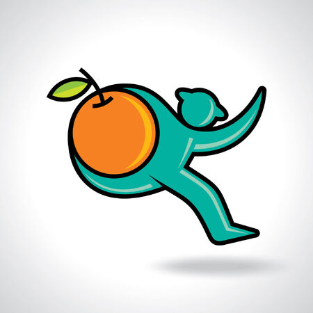 Fitness man running and hold a orange fruit Vector