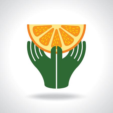 Hand with orange - Illustration Vector
