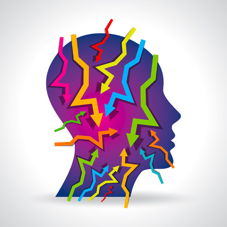 helplessness: Thoughts and options  vector illustration of head with arrows Illustration