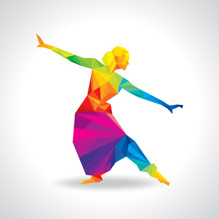 illustration of Indian classical dancer performing Vector