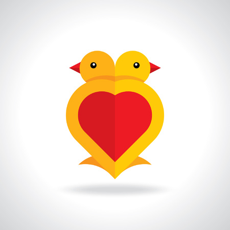 cartoon wedding couple: Little love birds  Vector of little love birds  Happy Valentine s