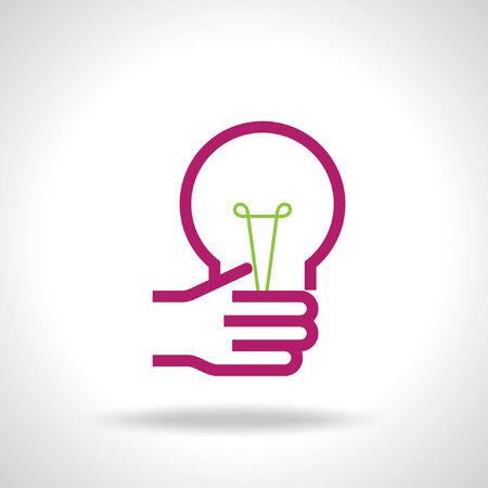 bulb idea with human hand Vector