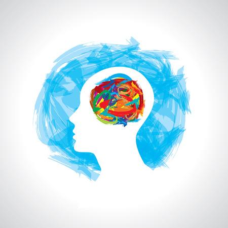 human head thinking  making from brush stocks Illustration