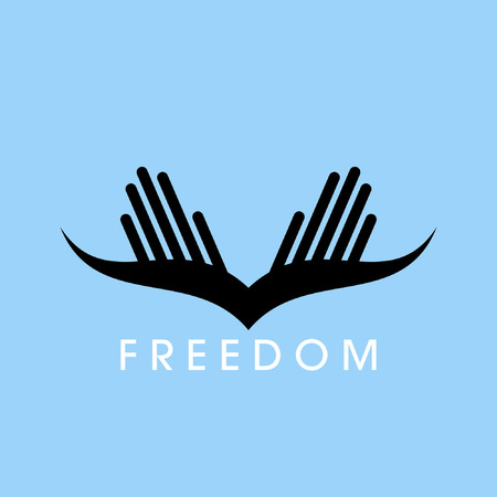 freedom wings: fly of bird to hand  creative idea Illustration