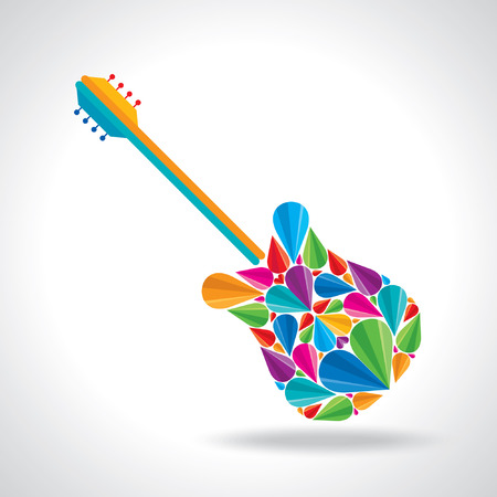 illustration of guitar shape with colorful abstract Vector