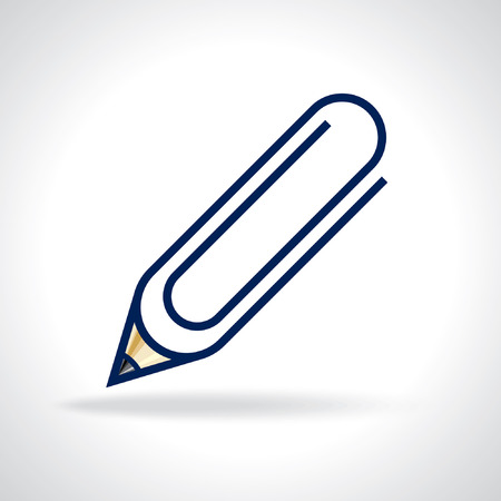 vector paperclip with pencil, office icon Vector
