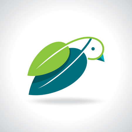 green leaf icon with bird Vector