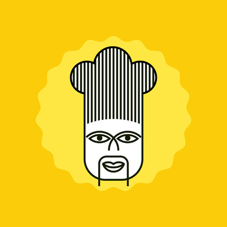 Chinese chef in icon style for cafe or restaurant Vector