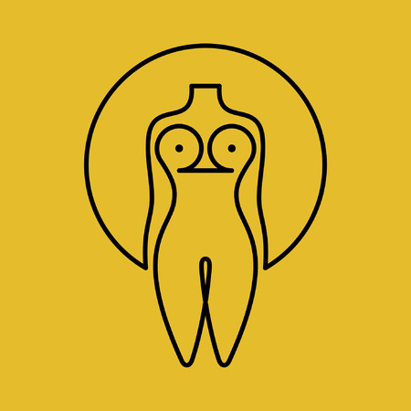 nude woman: beautiful nude woman icon with concept