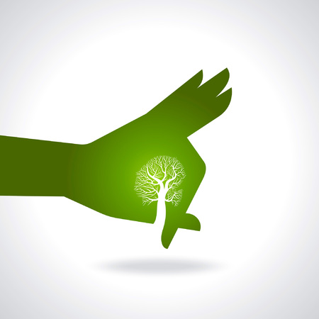 surrender: This vector background has a hand with tree