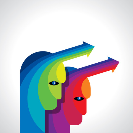 Thoughts and options  vector illustration of head with arrows Vector