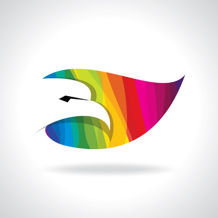 colorful eagle head icon Vector