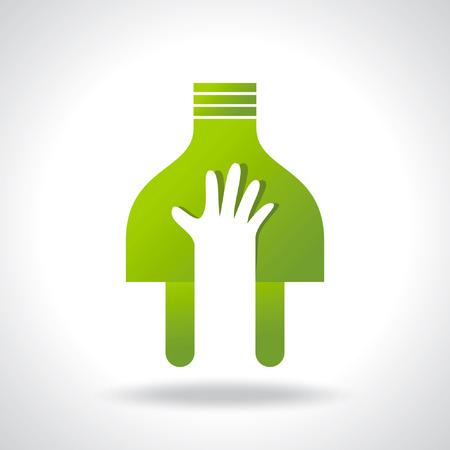 power in hand, green idea Vector