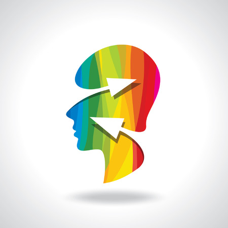 unsolvable: Thoughts and options  vector illustration of head with arrows Illustration