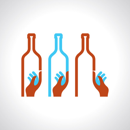waiter carrying wine bottle Vector