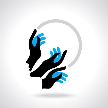 human hand thinking new idea Vector