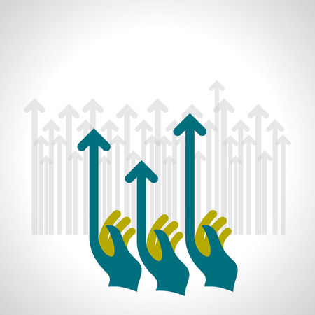 human hand push the business chart Vector