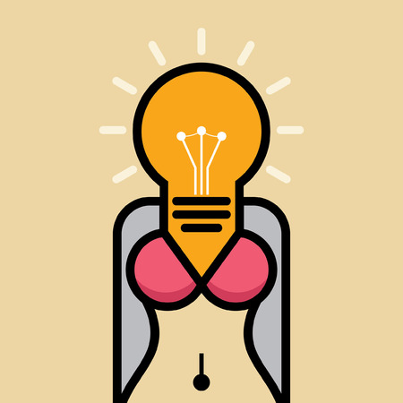 woman body illustration with creative idea Illustration