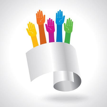 participation: Team symbol  Multicolored hands