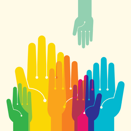 human hand: Team symbol  Multicolored hands