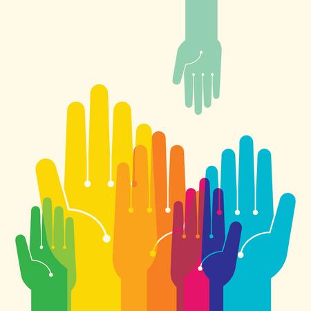 Team symbool Veelkleurige handen Stock Illustratie