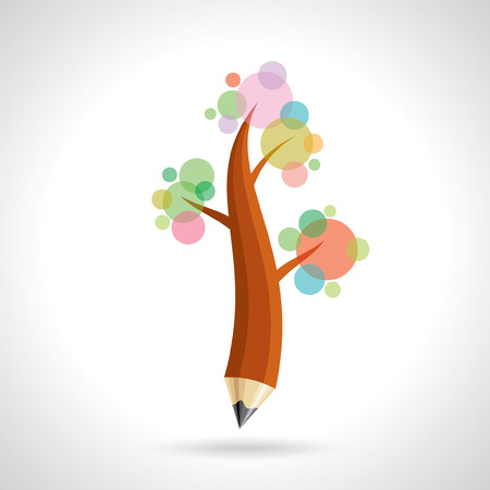 pencil with tree, creative idea Illustration