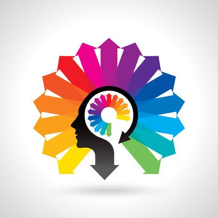 denken Gedachten en opties vector illustratie van het hoofd Stock Illustratie