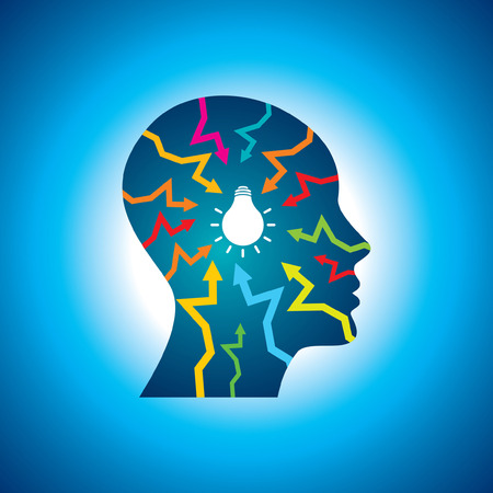 unsolvable: think Thoughts and options  vector illustration of head