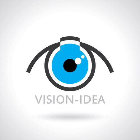 vision future: vision and ideas sign,eye icon,light bulb symbol