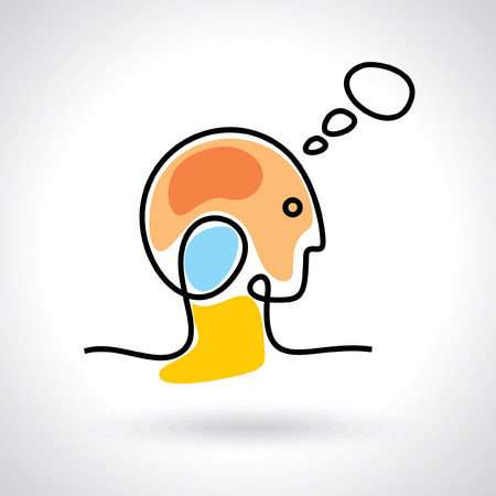 prediction: think Thoughts and options  vector illustration of head