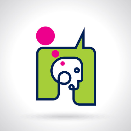 helplessness: think Thoughts and options  vector illustration of head