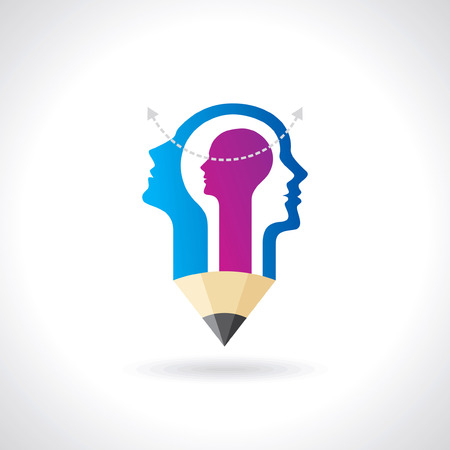 think Thoughts and options  vector illustration of head Vector