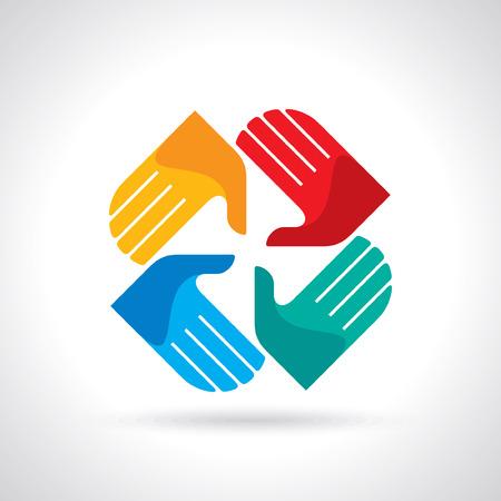 Teamwork symbol  Multicolored hands Vector