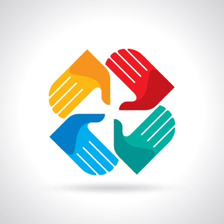 Teamwork symbol  Multicolored hands 版權商用圖片 - 28375003