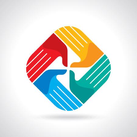 ni�os ayudando: Manos s�mbolo Trabajo en equipo Multicolores