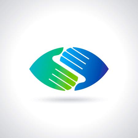 mains symbole de travail d'équipe multicolore