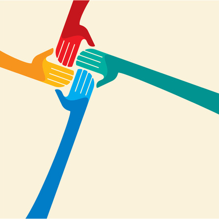 charity: Teamwork symbol  Multicolored hands