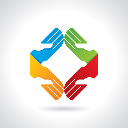 participation: Teamwork symbol  Multicolored hands