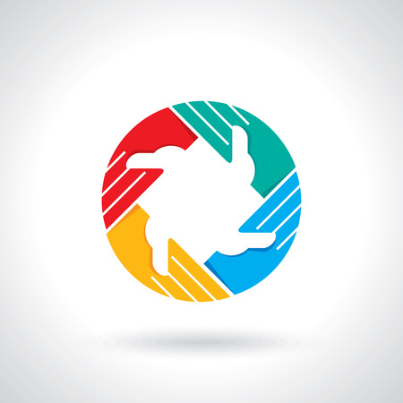 unity is strength: Teamwork symbol  Multicolored hands