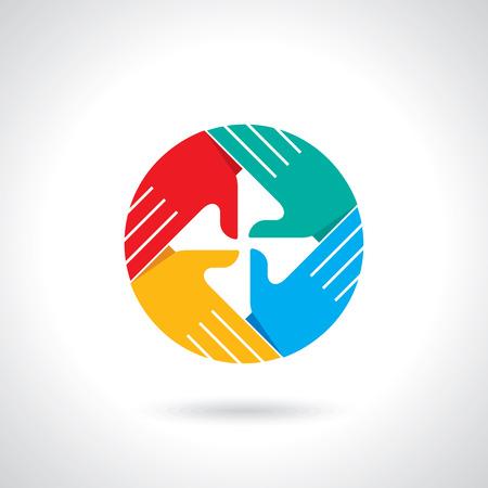 Teamarbeit Symbol mehrfarbige Hände, Standard-Bild - 28375038