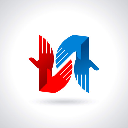 Teamwork symbol  Multicolored hands