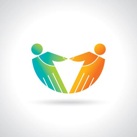 Teamwork symbol  Multicolored hands
