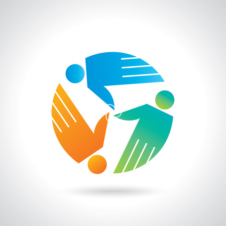 Teamwork symbol  Multicolored hands Vector