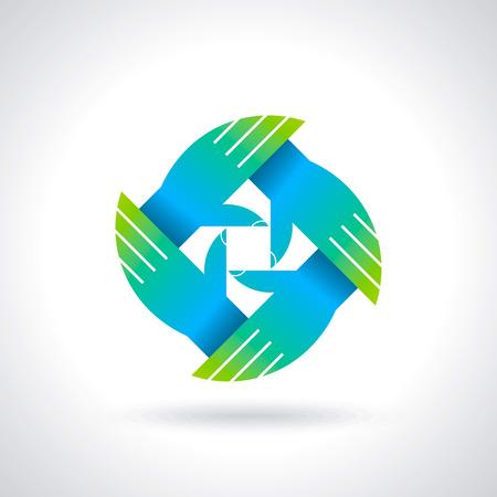 チームワーク シンボル色とりどり手  イラスト・ベクター素材