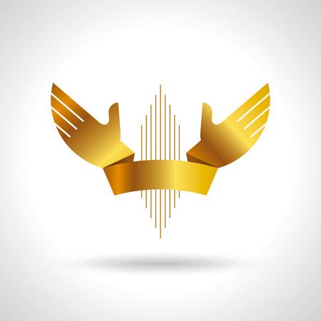 gold hands ribbon design